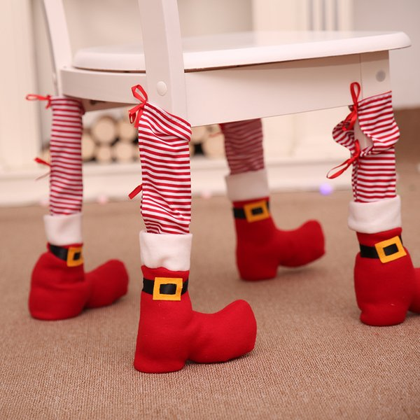 1pc Table Leg Chair Foot Covers Santa Claus Navidad 2018 Christmas Decoration for Home Chair Table Cover Decor New Year Supplies Y18102609
