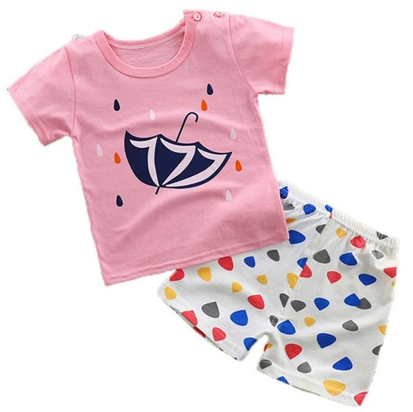Baby Cartoon top +shorts 2pcs/set suits girls boys outfits Baby Clothes Children clothing kids wear 18 styles