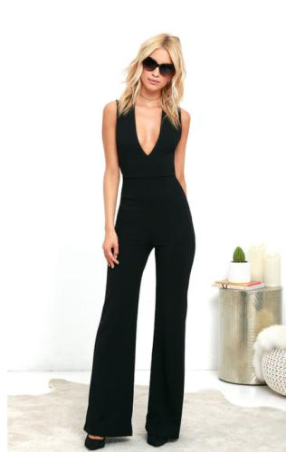 Women Lady Spaghetti Strap Sleeveless Deep V Neck Wide Legs High Waisted Bodycon Backless Jumpsuit Romper Trousers Fashion