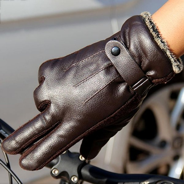 Men Fingers Car Glove PU Warm Ride Motorcycle Full Leather Non-Slip Outdoor Gloves Cotton Winter Electric Thickening Autumn