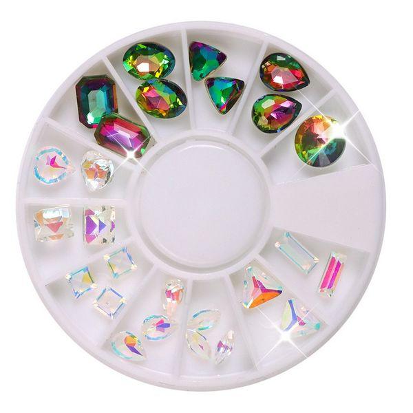 1 Kutu Mermaid Şeffaf Degrade Kristal Elmas Düzensiz Nail Art Süslemeleri Parlak Bukalemun 3d Manikür DIY Aksesuar Yeni