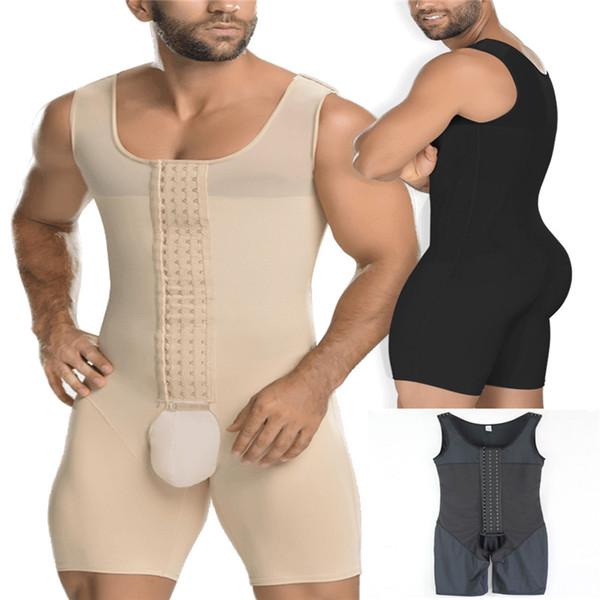 Manches Hommes Récupération Complet Du Corps Shaper Crochet Tenir Contrôle Vêtement De Shapewear ascenseur Soutien-Gorge Bodysuits Cuisse Push up Slimmer Underwear