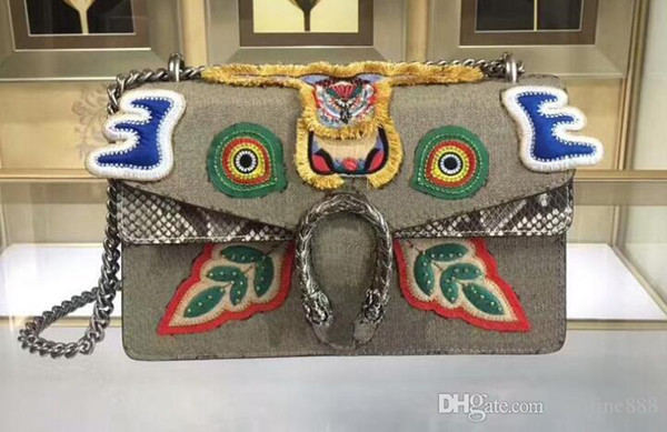 AAAAA 400249 28cm Dionysuss Embroideries Form a Face Canvas Shoulder Bag Suede Lining with Box Dust Bag Serial Number Free Shipping