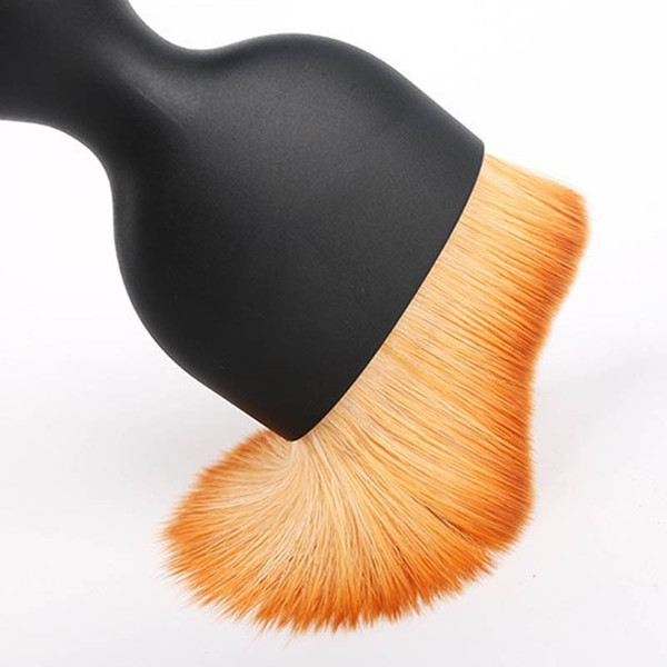 2018 Offerta speciale Real 200 Mink Hair Resin Pennello nero in polvere Base Wave Radian Make-up Curved Profile Makeup Tools Spot all'ingrosso