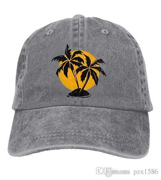 pzx@ Baseball Cap for Men & Women, Tropical Paradise Palm Trees and Sun Mens Cotton Adjustable Denim Cap Hat Multi-color optional