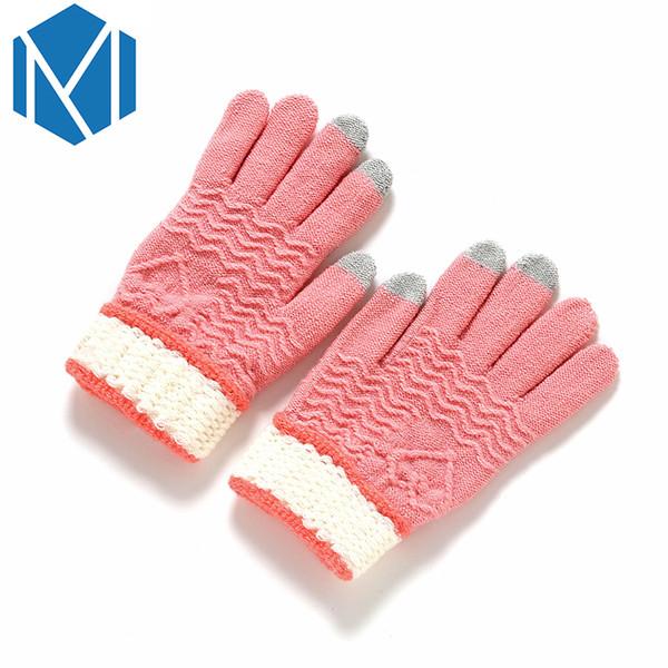 Soft Warm Stretchy Knitted Screen Gloves Women/Men Mittens Crochet Full Finger Glove Winter Female Knitting Driving Hand Luvas