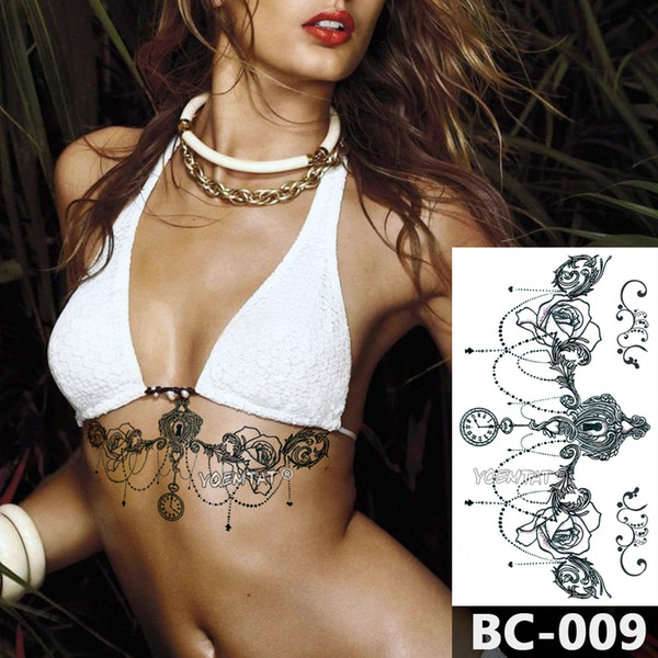 1 Sheet Chest Body Tattoo Temporary Waterproof Jewelry Clock lace key lock rose pattern Decal Waist Art Tattoo Sticker