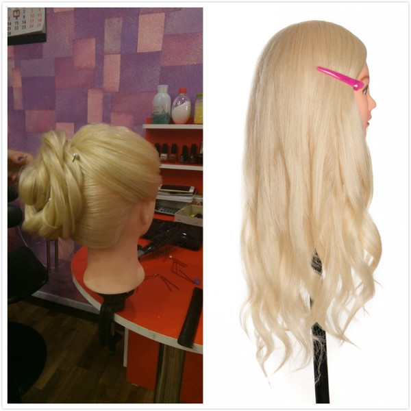 Hot selling 40 % Real Human Hair 60cm Training Head blonde For Salon Hairdressing Mannequin Dolls professional styling head can be curled