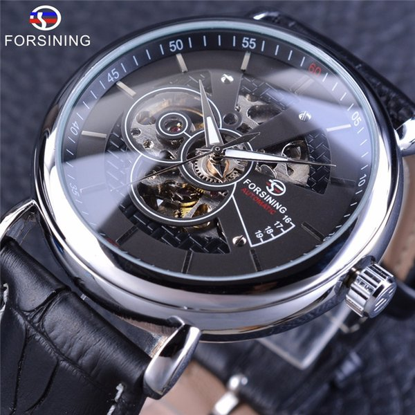 Forsining Silver Black Military Fashion Automatic Wrist Watch Men Watches Top Brand Luxury Genuine Leather Belt Mechanical Clock