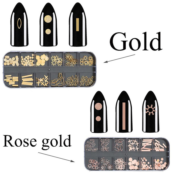 1 Box 3D Rose Gold Metal Rhinestone Nail Rivets Rectangle Snowflake Flowers Studs DIY Art Tips Nail Art Manicure Decoration