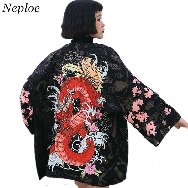 Neploe japonês mulheres cardigan meia manga com decote em v quimono blusas dragão chinês casaco de impressão solto de proteção solar camisas 35349