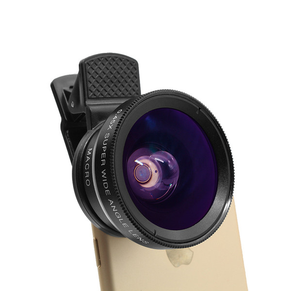 Mobile Phone Lens 0.45x Undistorted Wide Angle +12.5x Macro 2 in 1 External Lens 52mm No Vignetting Cell Phone Photograph Accessories