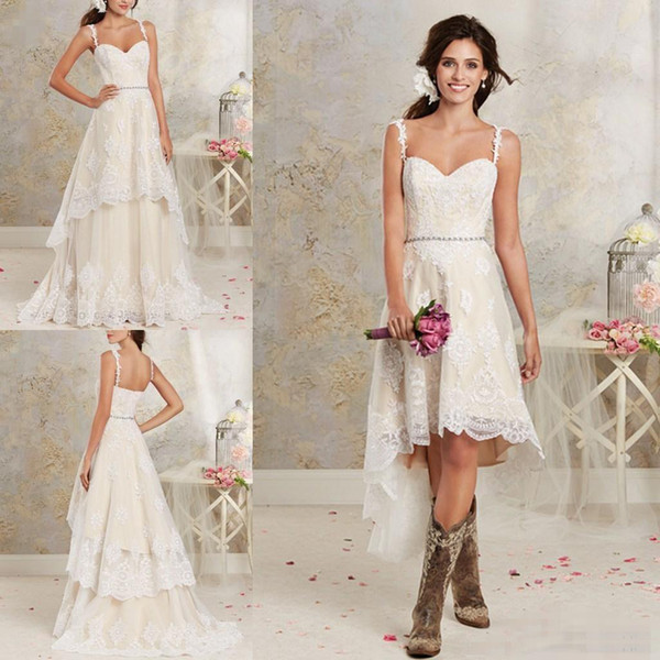 2018 New Sexy Two Styles Wedding Dresses Spaghetti Lace A Line Bridal Gowns With Hi-Lo Short Detachable Skirt Country Bohemian Wedding Gowns