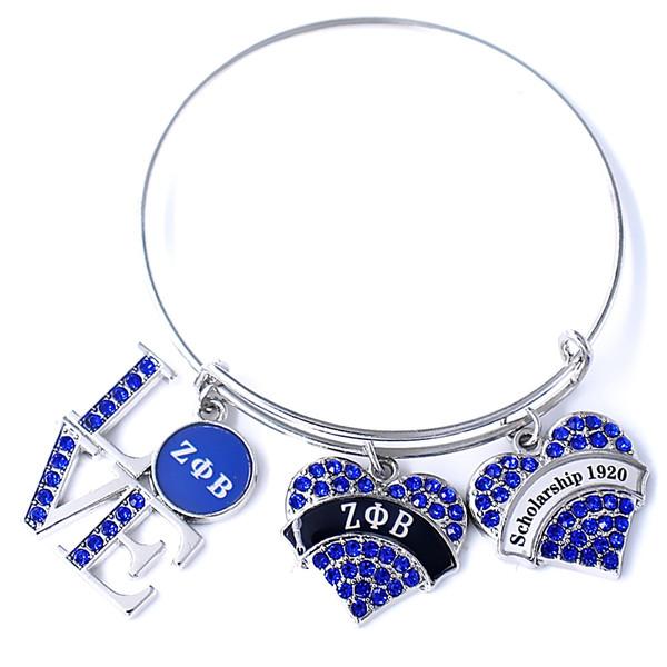 Blue Crystal Sorority Fraternity Class Souvenir Jewelry Greek Letter Scholarship 1920 Zeta Phi Beta Society Bangles Bracelet