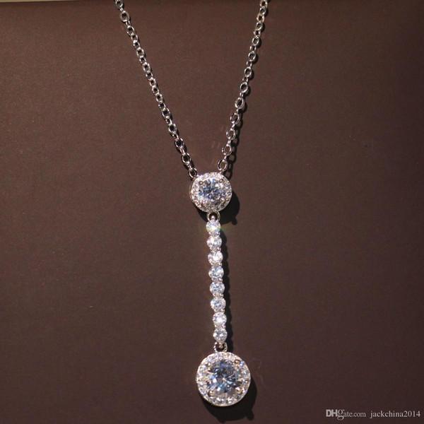 Choucong Marca Nueva Joyería de Lujo Hecho A Mano Largo Colgante de Plata de Ley 925 Lucky Party Pave Topacio Blanco Cadena de Diamantes CZ Neklace Para mujeres