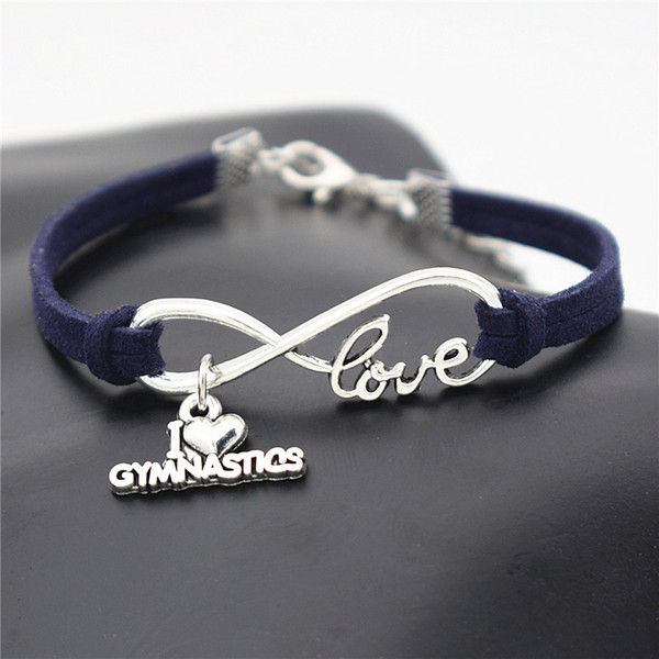 Punk Navy Blue Leather Suede Rope Bracelets Bangles Men Women Casual Vintage Unique Infinity Love I Heart Gymnastics Pulseras Jewelry Gifts
