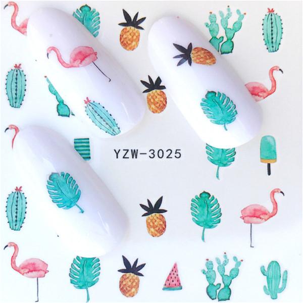 2Sheets Kawaii Flamingo Nail Stickers Pineapple Cacti Nail Art Decals 3d Pink Birds Water Transfer Summer Hawaii Ananas Decor