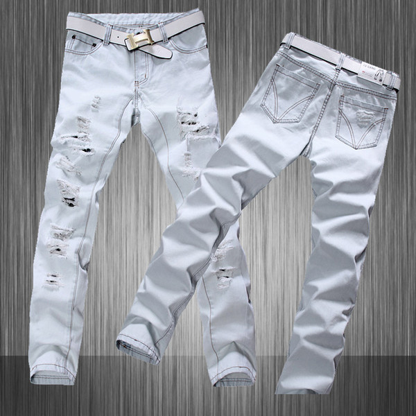 Stylish Hip Hop Men White Jeans Hommes Denim Mens White Distressed Biker Designer 2015 Men Jeans Long Trousers Plus Size
