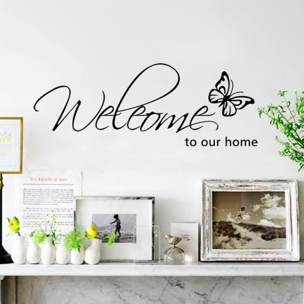New Fashion Butterfly Welcome To Our Home Vinyl Wall Art Living Room Quotes  Wall Decals Home Decoration Stickers Dinosaur Wall Decals Dinosaur Wall ...