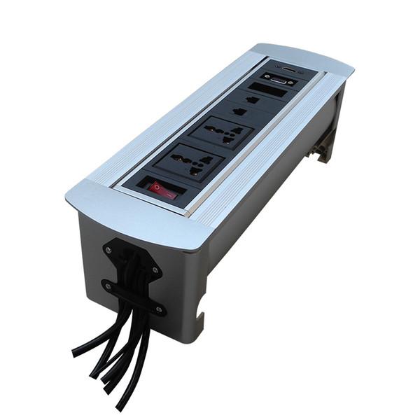 Presa da tavolo con alimentazione universale da 2 *, rete, VGA e HDMI. Flip up socket desktop silver / nero