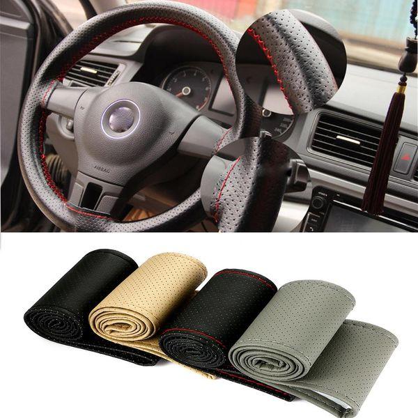 38 cm Araba Styling Siyah DIY Araba Direksiyon İğneler Ile Kapak ve Konu Hakiki Suni deri Araba-Styling aksesuarları
