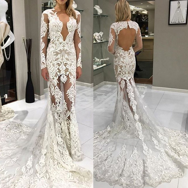 Mermaid Lace Illusion 2019 Berta Wedding Dresses Long Sleeves Sheer V Neck Bridal Dresses Sexy Backless Wedding Gowns