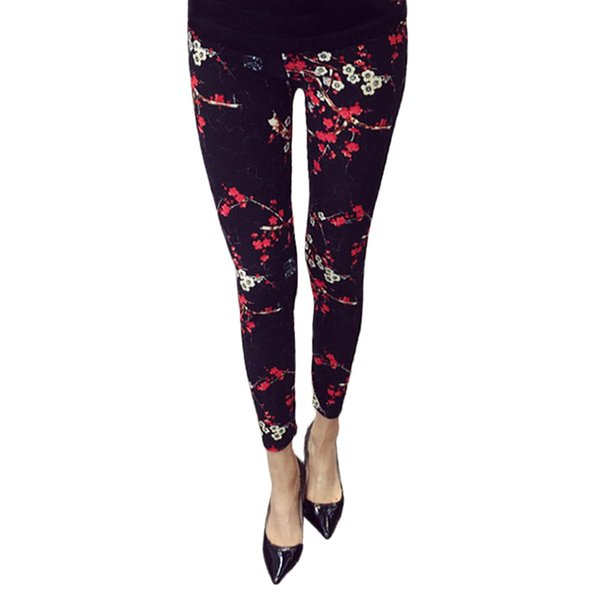 Fashion Flowers Print Women Leggings Floral Leggings For Women Female Ankle Length Pencil Leggins Ladies Strech Skinny Legins