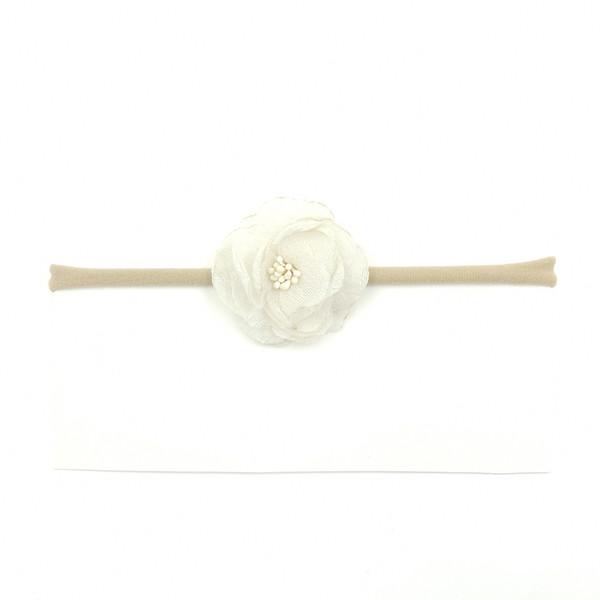 Compre Rosa Blanca De La Gasa De La Flor Vendas Elásticos De Nylon ...