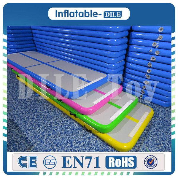 Free Shipping 300x90x10cm Blue Inflatable Air Track Floor Home Gymnastic Cheerleading Tumbling Mat Gym Air Mat With One Pump