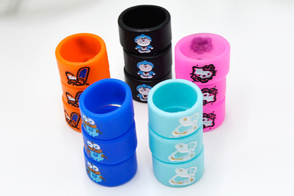 Silicon Vape Band Rings Engraved Cartoon Silicone Rubber Protection Decorative Beauty Ring Diameter 16mm For EVOD EGO T Twist Battery