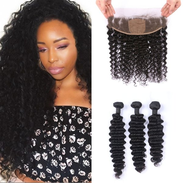 13x4 Deep Wave Silk Base Frontal with 3 Bundles Human Hair Extensions Remy Indian Hair with Closures FDshine