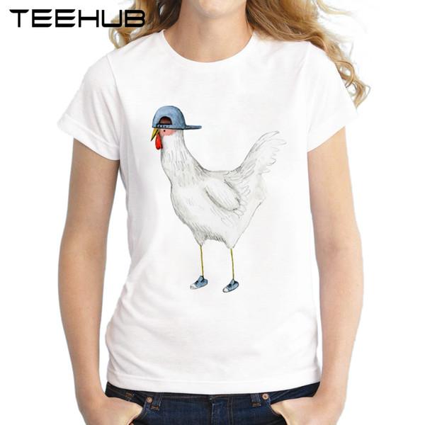 Kadın Tee 2018 Moda Bahar Tavuk Tasarım Kadın T-shirt Kısa Kollu Lady Yaz Kedi Baskılı Tee Gömlek Ile Yenilik Tavuk Tops