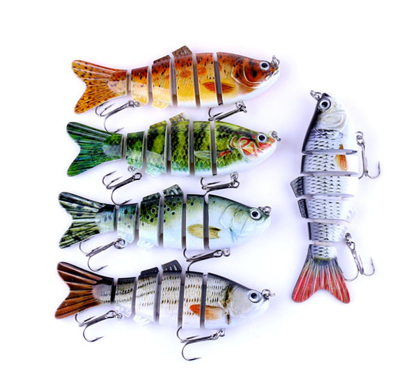 5colors/lot 6 segments ABS Plastic Fly Fishing bait 18g 10cm Simulation diving Swimming Rattlin Laser Crank bass Lure