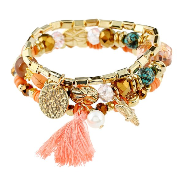 Fresh and fashionable candy color starfish imitation pearl crystal tassel jewelry women's multicolor Yiwu bracelet
