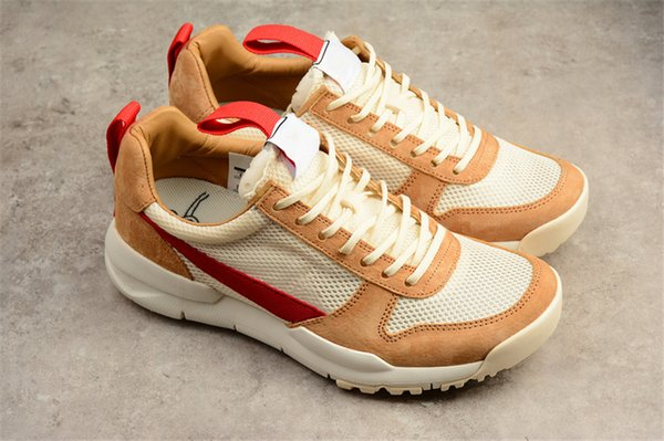Hottest Tom Sachs Craft Mars Yard 2.0 Space Camp Running Shoes For Men,Authentic AA2261-100 Natural Sport Red Maple Sneakers With Box