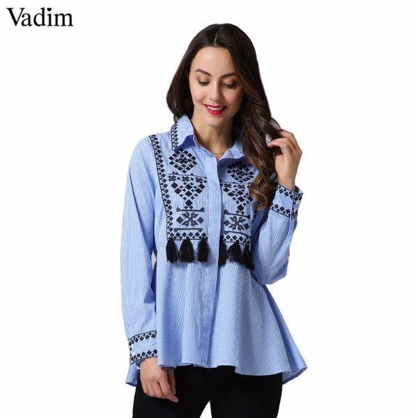 Vadim vintage nappa floreale ricamo a righe camicie frangia geometrica manica lunga retrò camicetta femminile top blusas LT2256