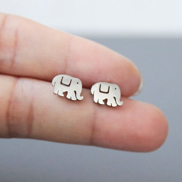 Everfast New Cute Elephant Earring Little Animal Stainless Steel Earrings Studs Fashion Ear Jewelry Lucky Gift For Women Girls Kids T115