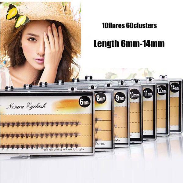Fashion 6/8/9/10/11/12/14mm 60pcs Professional Makeup Individual Cluster Eye Lashes Grafting Fake False Eyelashes Free Shipping