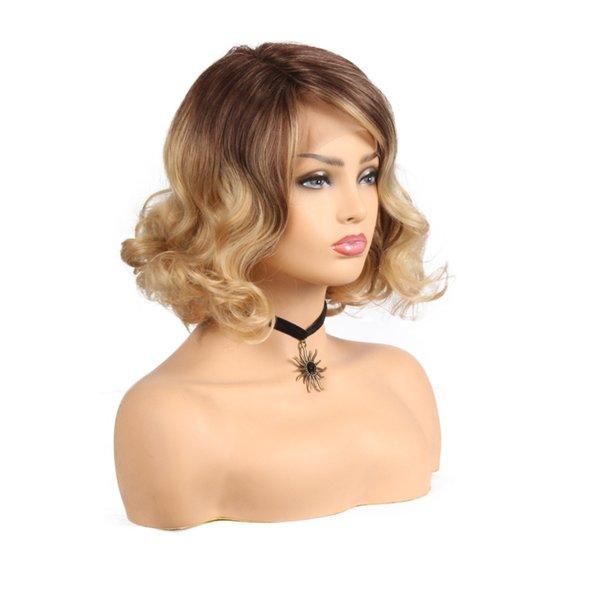 Court Curly Lace Front Perruque Ombre Blonde Couleur Synthétique Perruques Avec Ombre Bangs Haute Température Fibre Pour Les Femmes Perruques