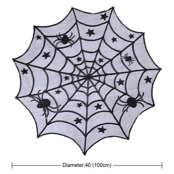 Laço preto Spiderweb Festa de Halloween Decoração Para Casa Toalha De Mesa Horror Adereços Spider Web Lareira Capa Mantle Festival Suprimentos