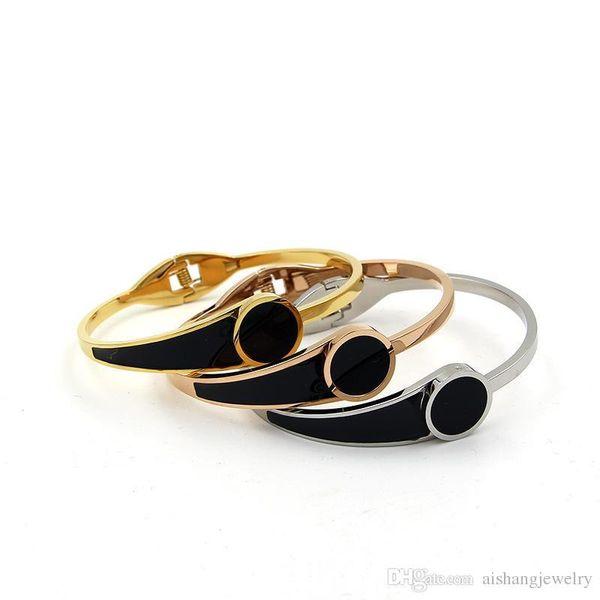 PB101 new fashion black round cake glue classic style gold plate bangle foe lady gift free shipping