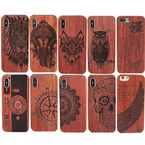 Estuche de madera para Iphone X 8 Carcasa dura Tallada Carcasa de madera para Apple Iphone 7 Plus Funda de bambú de lujo S9 Retro Protector