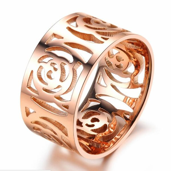 New Products Hollow Camellia Ring Plated Rose Gold Ring Trend Titanium Steel Ring Free Shipping D0167