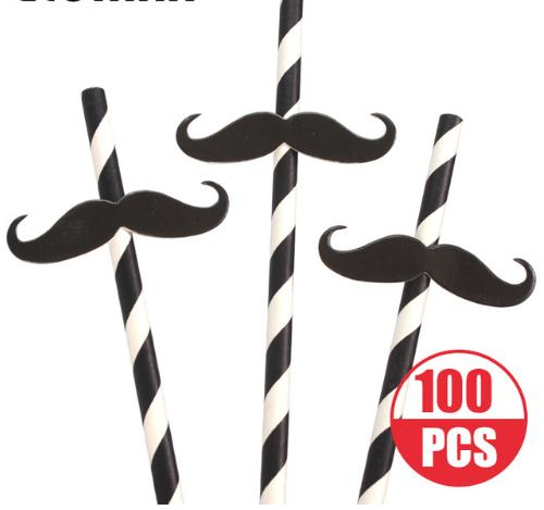 Black -White Striped Mustache Party Straws Funny Drinking Paper Straws For Birthday Party ,Bar Club Drinking Straws 100pcs