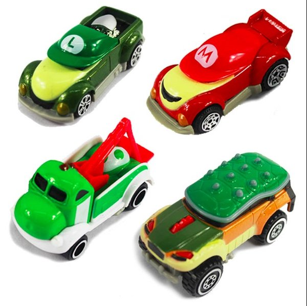Super Mario Kart Metal Car Figure Toys With Box Gift For Children Free Shipping 8pcs