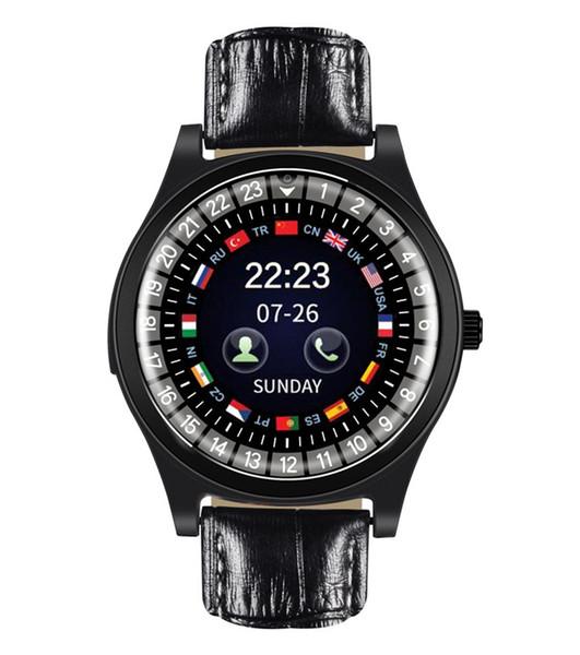 Nouvelles sangles en cuir Smart Watch Round Fitness Sport Montre-bracelet Support SIM Carte TF Avec Caméra HD Smartwatch de luxe Pour Android iPhone