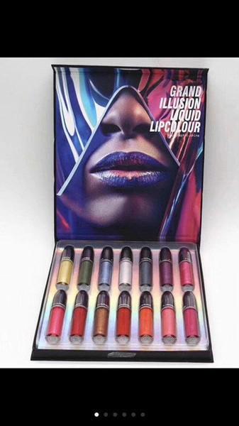 Famous Brand New 14Colors Grand Illusion Liquid Lip colour lip gloss lipstick set Pigment Long Lasting Easy to Wear Makeup Matte