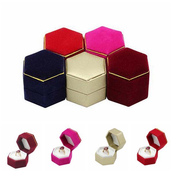 Hot sale Hexagon Ring Box Jewelry Display Holder Velvet Ring Storage Box fashione Earings jewelry box