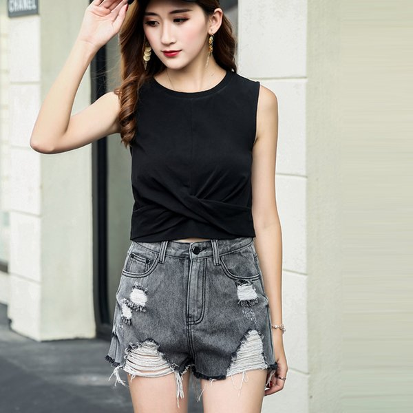 Haute qualité Vintage Ripped Hole 2 couleur Denim Shorts Femmes Casual Pocket Jeans Shorts 2018 Summer Girl Hot Harem Pants