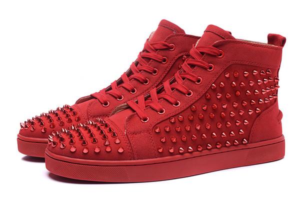 Tasarımcı moda Dipleri ayakkabı Çivili Spike Düz sneakers Erkekler Kadınlar Için glitter Parti Severler Hakiki Deri rahat perçin Sneaker